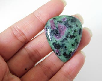 Ruby Zoisite natural plain pear shape cabochon - 28.5mm x 35mm x 7mm - STK-82-RBZL-06