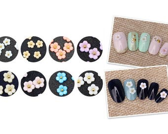 10pcs New 3D Nail Art Resin Cherry Blossom Colorful Flowers Stud Charm Decoration DIY Accessories