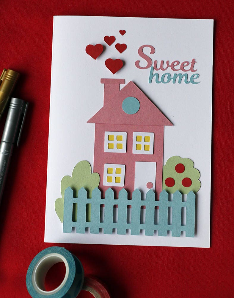 Greeting cards handmade housewarming greeting card handmade house warming greeting card home sweet home greeting card cute handwarming kristyandbryce Image collections