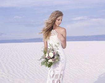 Backless Crochet Wedding Dress Bohemian Bride Boho Chapel Length Halter Neck
