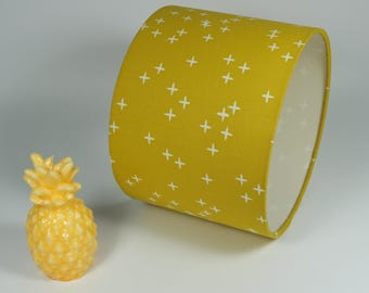 Lampshade baby child teen mustard yellow and small white crosses for lamp or pendant