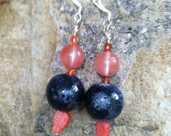 Pink coral and navy blue feather beaded dangle earrings