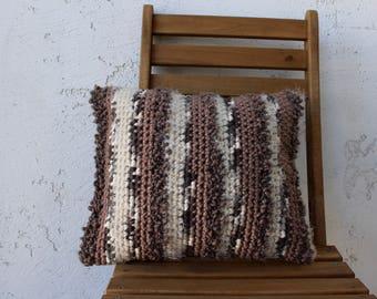 Textured decorative crochet throw pillow one of a kind crocheted pillow cushion home decor home maker fiber art handmade interior design