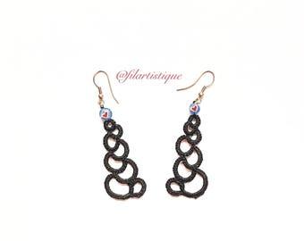 Earrings lace tatting 8, long, black, hearts @filartistique