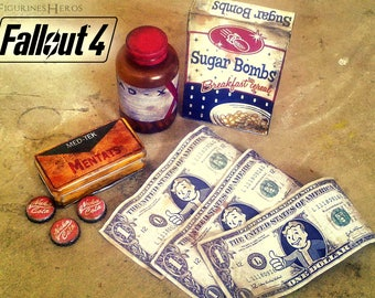 Fallout 4 set of accessories replicas of the game (Rad X silver of pre-war capsules nuka cola sugar bombs mentats...)