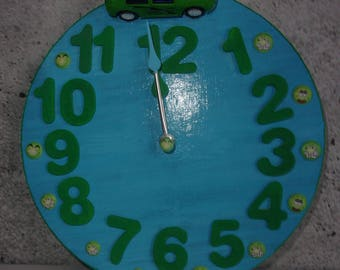 Kids clock blue personalized car