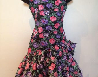80s Huey Waltzer for Darcy prom party floral dress // bow dress