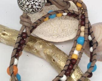 cotton wrap, glass beads and mixed wood bracelet