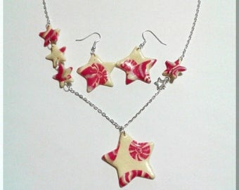 Necklace set - Earrings yellow star vanilla and its pink, yellow and bright geometric patterns and charm