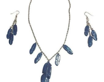 Necklace - Blue feather earrings
