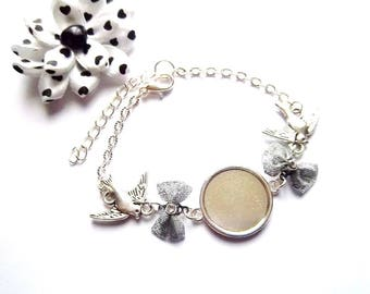 Support cabochon 18mm, silver tone bow and bird bracelet