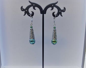 Genuine hematite earrings Celtic style blue/green