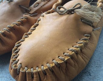 Genuine Leather Moccasins w/ Leather Sole