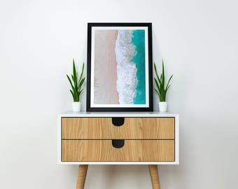 Beach Prints Wall Art, Ocean Print, Aerial Photography, Drone Art, Home Decor, Poster, Digital Print, Beach Print, Beach Photography