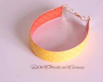 Bracelet manchette jaune à pois blancs, bracelet jaune
