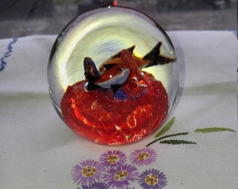 Under the Sea Hand Blown Glass Paperweight, Fish in the Ocean Glass Paperweight, Unsigned