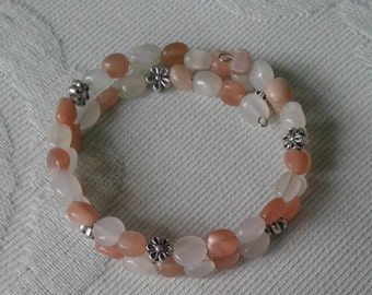 Natural Moonstone and Sunstone Wire Wrap Bracelet