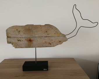Whale driftwood on wood base painted black