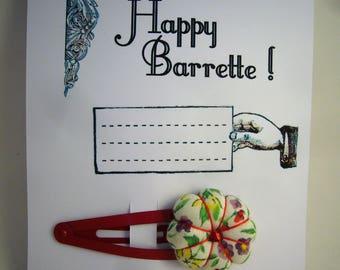 """Carte """"Happy barrette"""", carte de voeux prête à envoyer avec une barrette incluse (fleurs en tissu Liberty cousue main), pièce unique."""