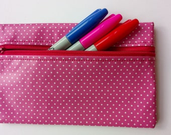 Pink poka dot pencil case/make up pouch