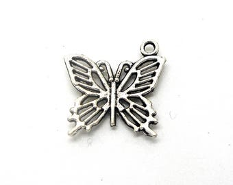 silver colored metal Butterfly charm