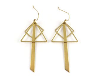 Earrings geometric minimalist triangle square bar raw brass. G-03