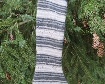 100% Felted wool Christmas stocking upcycled sweater gray striped