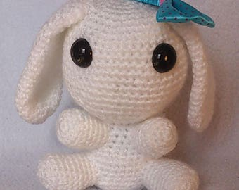 Plush white Bunny with crochet Ribbon