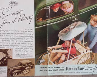 1936 TURRET TOP Body by Fisher - 2-page Vintage Ad - General Motors - Steel Top - Cars - Auto - Vehicle - Safety - 1930s - Wall Decor