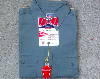 Vtg DEADSTOCK 50s Penneys Big Mac work shirt w tags / advertising / sanforized / sanitized / side gussets / vat dyed / workwear