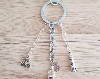 """Door key/jewelry bag """"Well"""" theme Brittany black/white/red tones"""