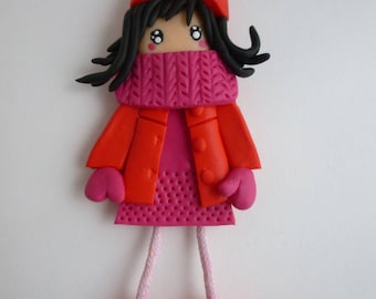 Decorative magnet, polymer clay doll