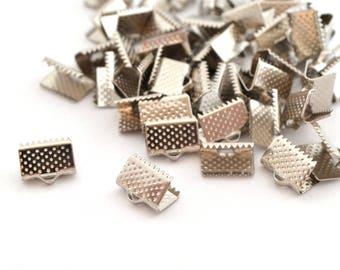 50 end caps 10mm Silver Ribbon clip