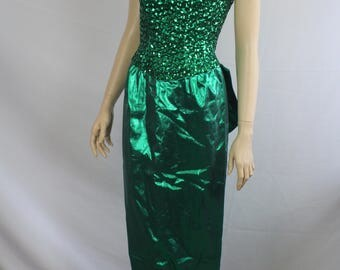 80s prom dress, vintage 1980s dress, Mike Benet, 80s vtg dress, iconic 80s prom dress, vintage green origami sequin dress, 1980s small S XS