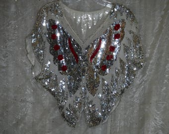 Butterfly Sequin and Bead Vintage Disco Blouse, Silver with Red Accents