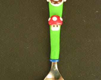 Spoon decorated with Mario and his mushroom Fimo