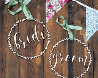 Wedding Chair Signs, Chair Back Sign, Wood Rustic Decor - Chair Decoration - Chair Signs - Rustic wedding Signs