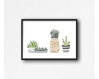 A4 watercolour mini cactus/plant print, home prints, cactus prints