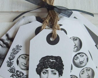 """Set of 10 labels American """"Fornasetti woman faces"""""""