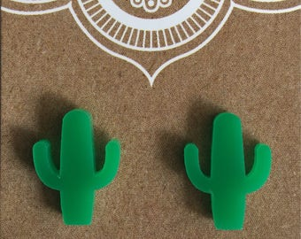 Green cactus stud earrings