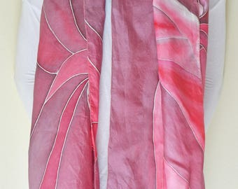 Red, pink Knot 100% silk scarf