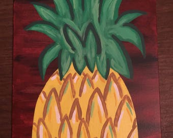 Hand-Painted Pineapple Canvas
