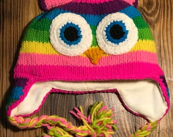 Toddler Owl Hand-Made Wool Hat