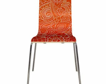 Colorful chairs with beautiful art