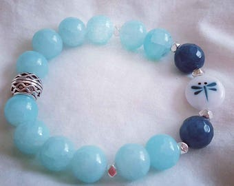 Aqua glass beads with dragonfly glass bead