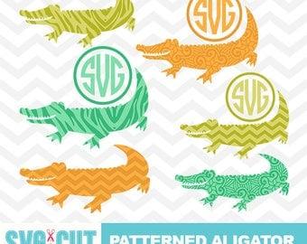 Patterned Alligator SVG files, Alligator Monogram, Alligator Clipart, Chevron Alligator SVG, Alligator Cut Designs, Gator SVG, svg-024
