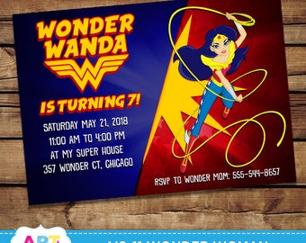 Wonder Woman Invite, Wonder Woman Birthday Invitations, Digital Printable Party, Personalized DC Superhero Girls Printable Card - AIS-11