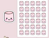 CUTE KAWAII MARSHMALLOW | Planner Stickers  | Faces | Sweets | Candy | Erin Condren |   | S108