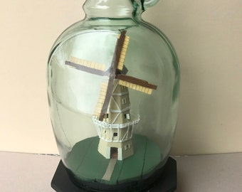 Vintage Handcrafted Model Windmill In a Bottle.