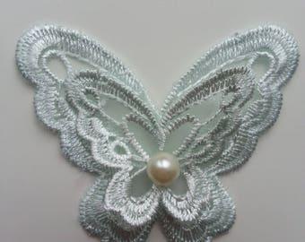 double papillon en dentelle vert d'eau  65mm